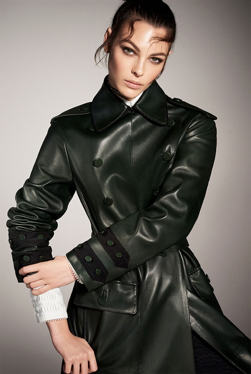 Vittoria Ceretti wears a leather trench coat in Zara's fall-winter 2017 campaign