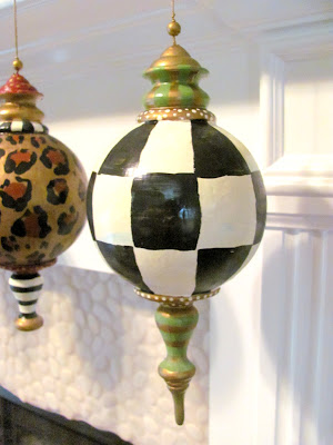 hand painted finial black and white check designer christmas ornament