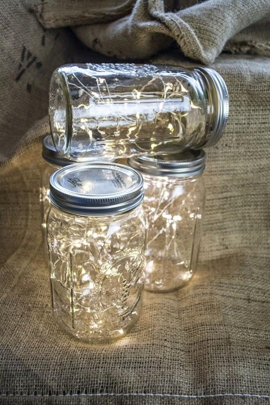 Mason Jar centerpieces Fairy Lights wedding favors