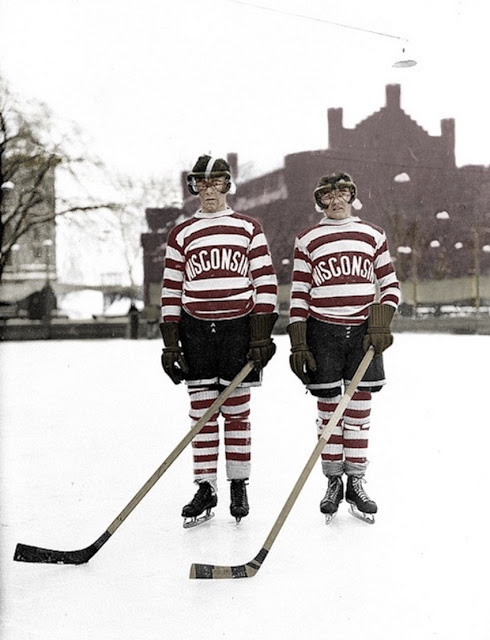 1929 Hockey in Winconsin Colorized Photo. red striped uniform including tights. Leave the hockey moms out of it. marchmatron