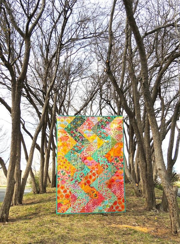 Cascade quilt pattern, Springleaf Studios, Amy Butler fabrics