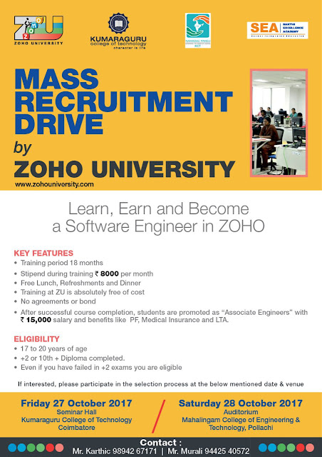 Mass Recruitment Drive by Zoho University: Software Engineer | Freshers 2017 / 2016 / 2015 OffCampus February March Jobs