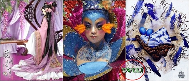 Chinese articstic body paint and makeup