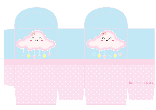 Rain of Blessings in Pink and Light Blue Free Printable Box.