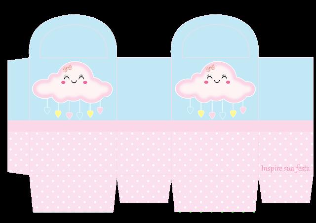 Cajas de Lluvia de Bendiciones en Rosa y Celeste para imprimir gratis.