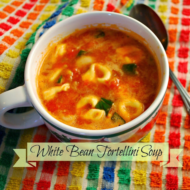 A bowl of this quick and easy white been and tortellini soup is a delicious, warming lunch or dinner on a cold day.