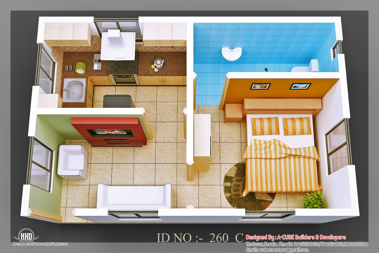 3d isometric views of small house plans kerala home for Indian house designs and floor plans