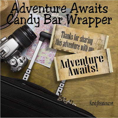 Celebrate a wonderful adventure with this candy bar wrapper that would be perfect for so many parties.  You can give it out as a good bye gift for school's end, you can give it as a graduation thank you, you can give it as a birthday party thank you, or just about anything.  I love that it's so versatile.