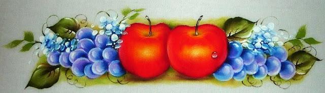 pintura em tecido maçãs