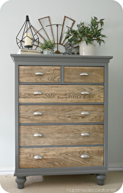 gray and wood dresser