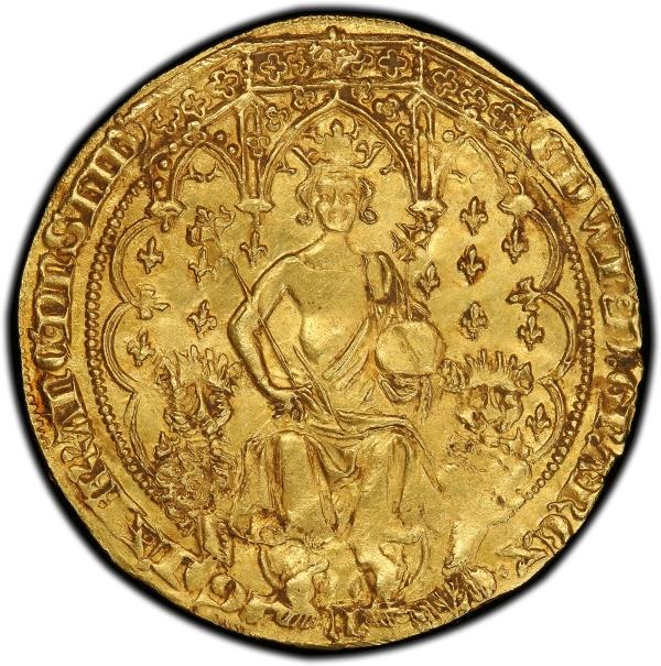 doble leopardo de oro de Eduardo III anverso