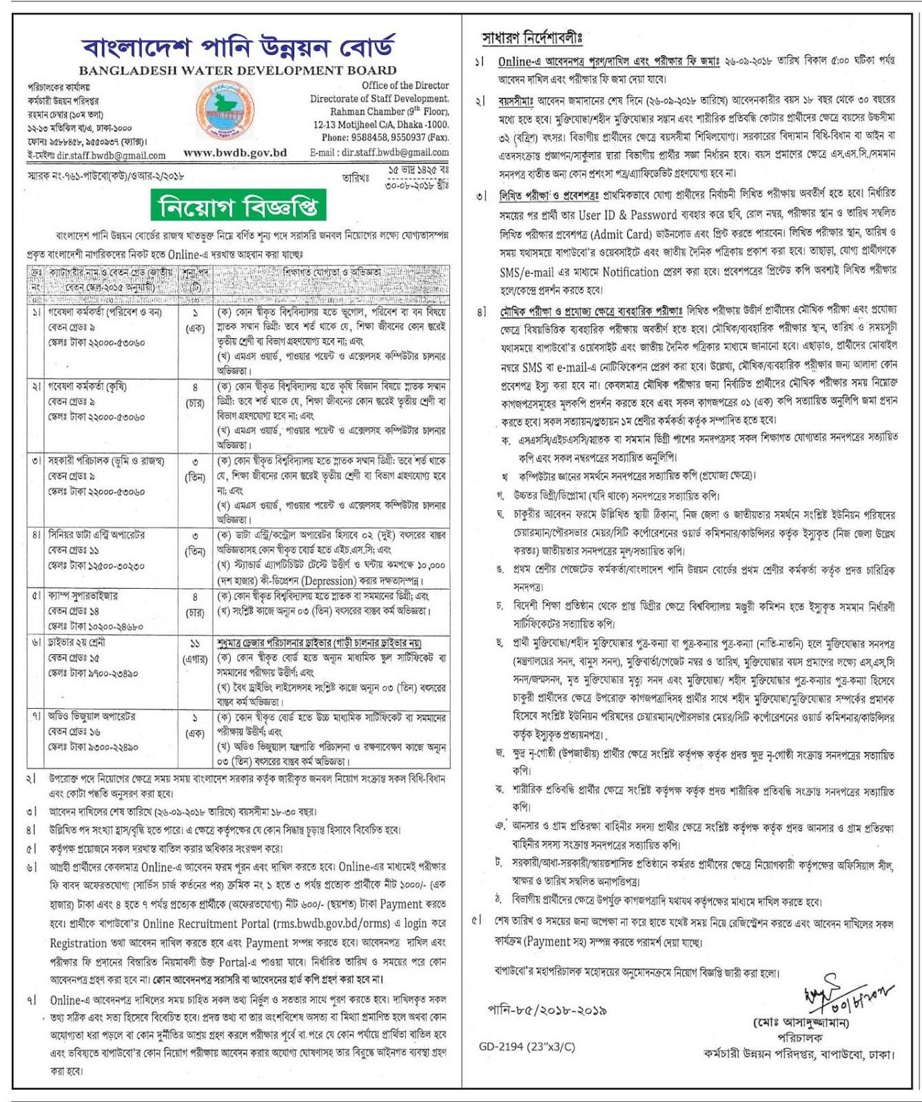 Bangladesh Water Development Board (BWDB) Job Circular 2018