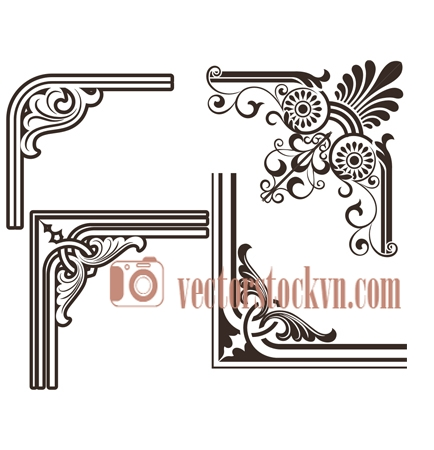 Download vector Black and white vintage floral frame template.