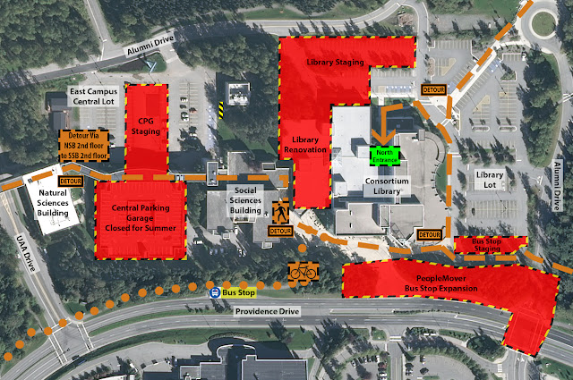 Map depicting projects between UAA Drive and Alumni Drive and pedestrian detour routes via second floor spine and the library plaza to library north entrance.