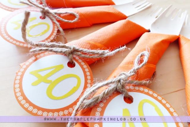 [Orange & Yellow Colour Theme] 40th Birthday Party Cutlery & Napkin Bundles