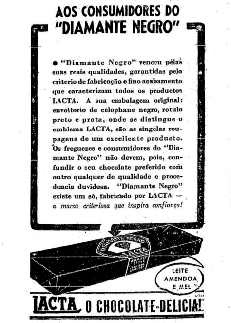 História do chocolate Diamante Negro - 1938 - 1939