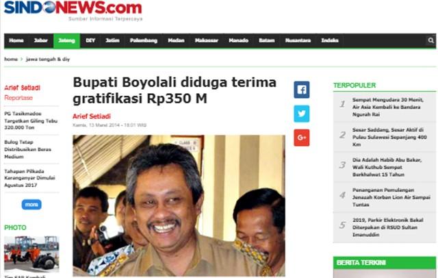 Kasus Bupati Boyolali Diungkap Kembali, Diduga Terima Gratifikasi Rp350 Miliar