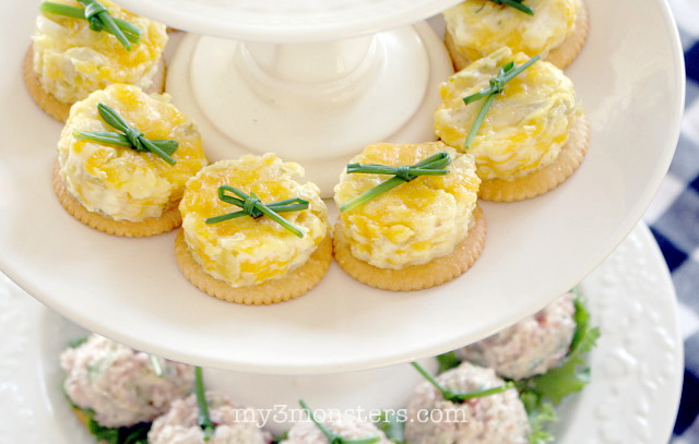 These Mini Quiches with RITZ Cracker crust from my3monsters.com are the perfect finger food for a holiday Jingle Mingle. What's a Jingle Mingle?  Head to My 3 Monsters to find out!