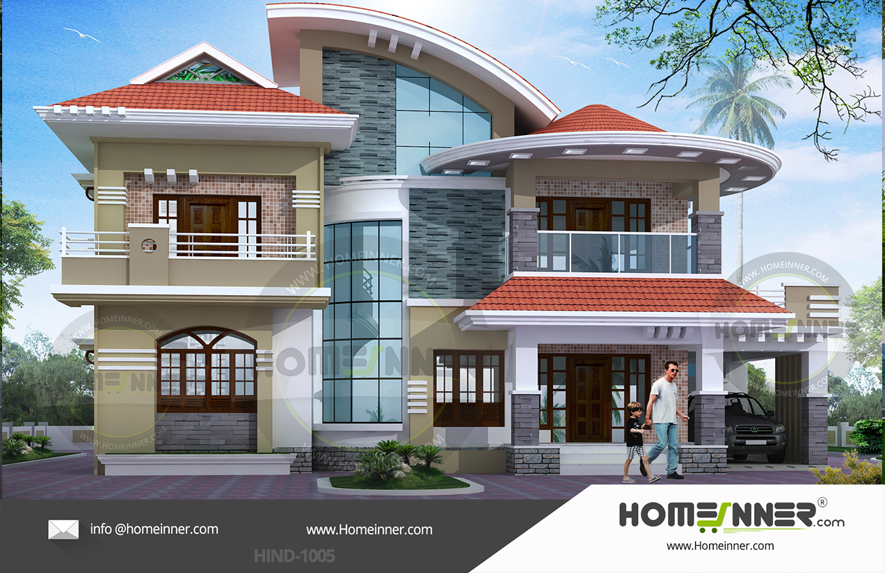 House plan 3200 sqft 5 Bedroom 6 Bath Villa