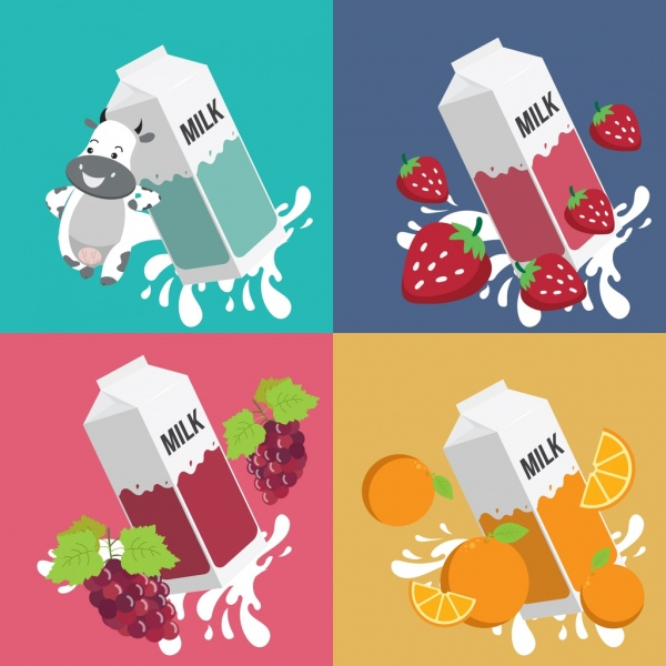 Milk advertising backgrounds cow strawberry grape orange icons Free vector