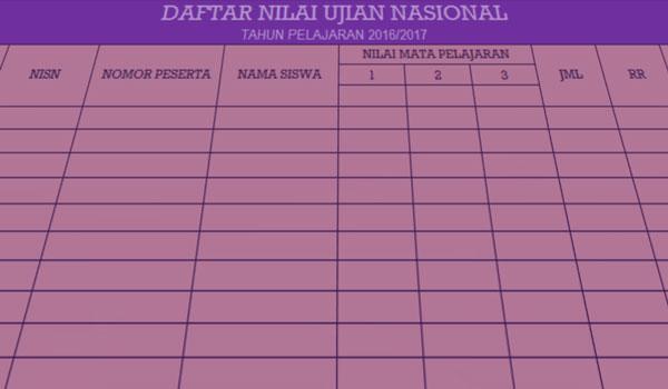 Download Contoh Format Rekapitulasi Nilai Ujian Nasional / Sekolah / Madrasah