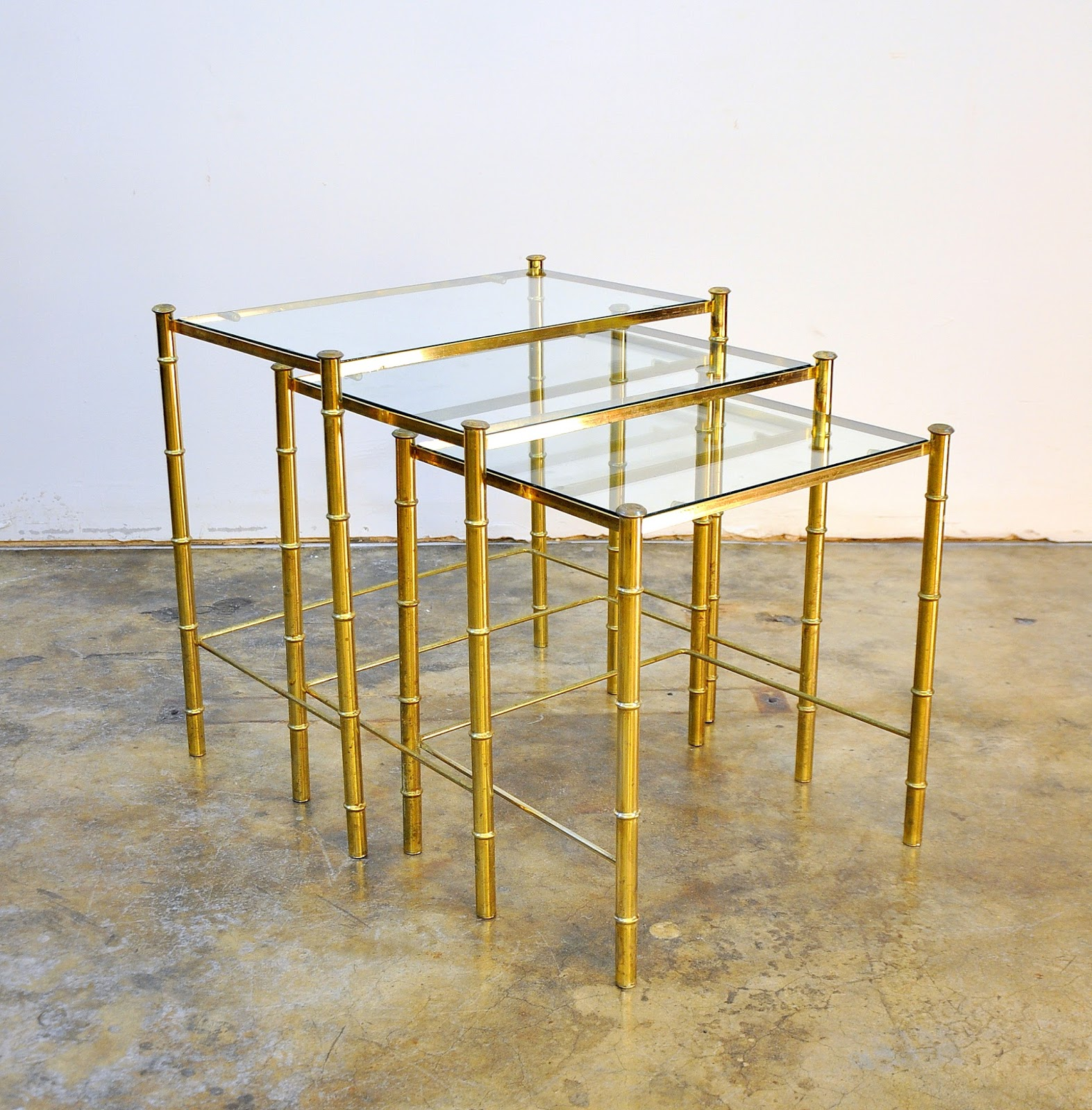 SELECT MODERN: Hollywood Regency Brass & Glass Faux Bamboo ...