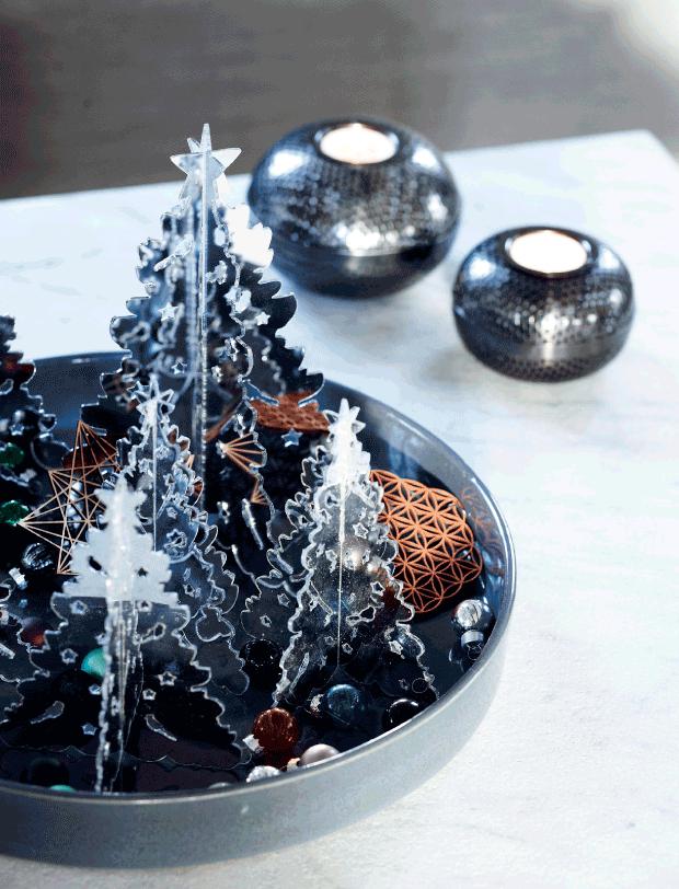 centros de mesa con árboles de navidad