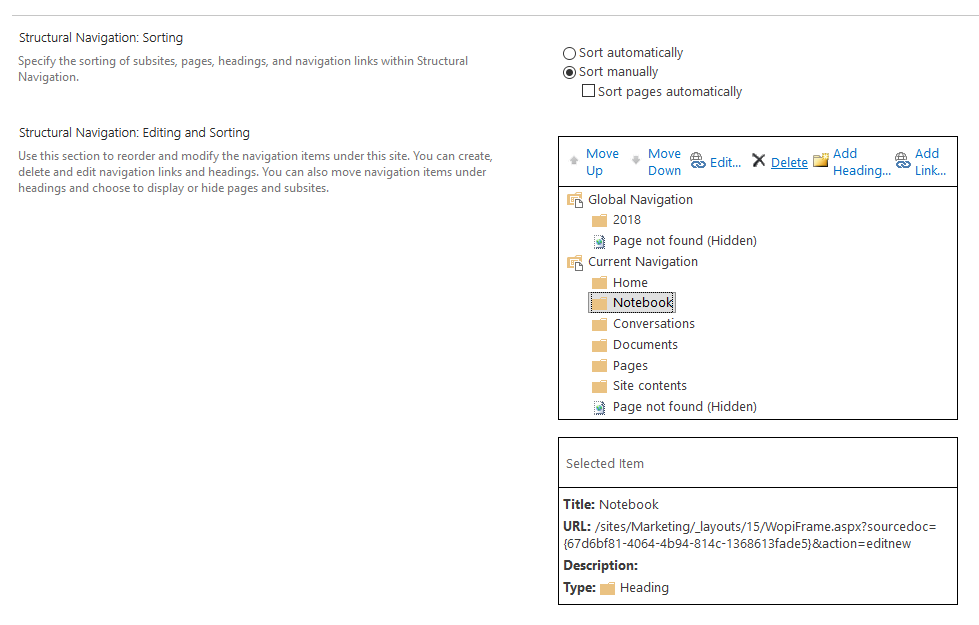 hide notebook link in sharepoint online