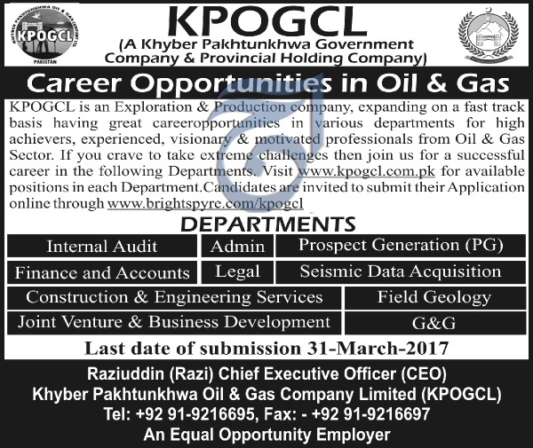 Oil & Gas Company Limited Jobs 2017