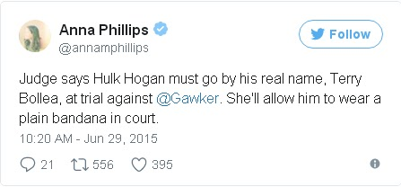 HULK HOGAN allowed to wear a plain bandana in court vs gawker.  PYGEAR.COM