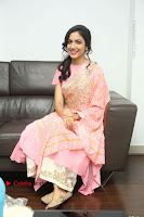 Actress Ritu Varma Pos in Beautiful Pink Anarkali Dress at at Keshava Movie Interview .COM 0283.JPG