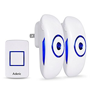Adoric Wireless Doorbell Kit with 2 Plug-in Receivers and 1 Remote Button Waterproof Operating at 1000 feet Rang with 36 Chimes, 4 Volume Levels, LED Flash, White