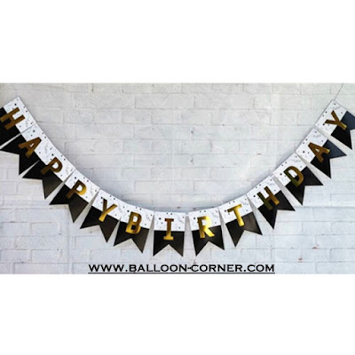 Bunting Flag Segilima HAPPY BIRTHDAY Huruf Hot Print Emas Warna Hitam Putih