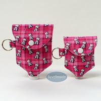 Pink Plaid Westies Hand Sanitizer Holders, Doggie waste bag dispenser
