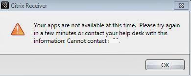 Citrix Receiver error  Virtualcloudz