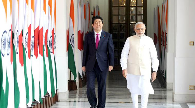 Image Attribute: Prime Minister Narendra Modi with the Prime Minister of Japan, Shinzō Abe, at Hyderabad House, in New Delhi on December 12, 2015. (Source: Press Information Bureau)