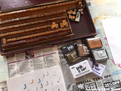 Child stamping with vintage printing set