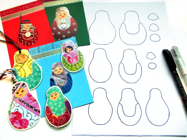 Cute Russian Matryoshka doll birthday card for a girl. Read and watch how to make one and download the free doll templates.