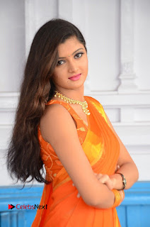 Actress Akishitha Pictures in Saree at Prayanam Movie Opening  0034.JPG