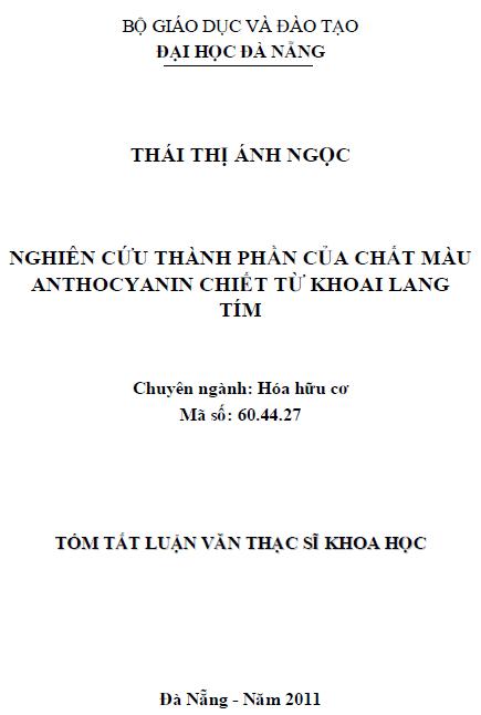 Nghiên cứu thành phần của chất màu Anthocyanin chiết từ khoai lang tím
