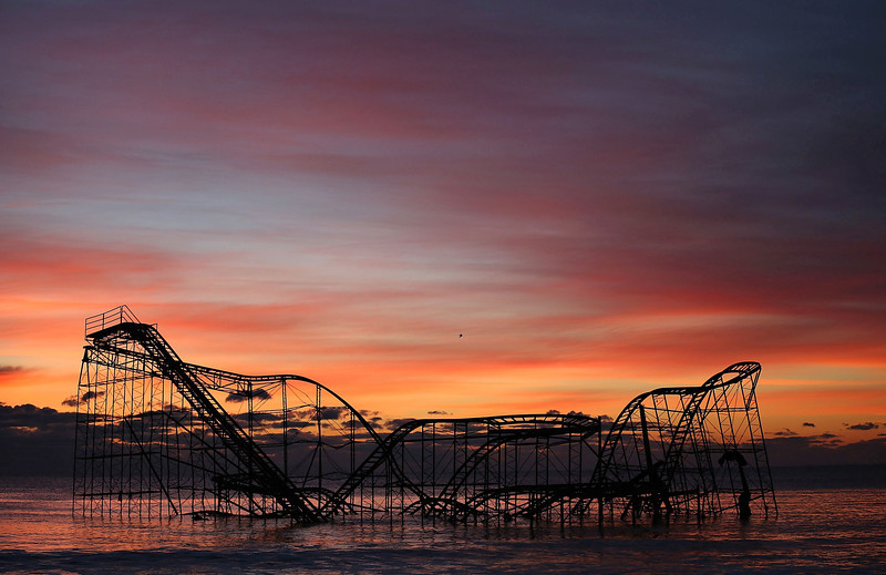 A Roller Coaster Sits In The Ocean After The Casino