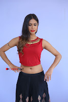 Telugu Actress Nishi Ganda Stills in Red Blouse and Black Skirt at Tik Tak Telugu Movie Audio Launch .COM 0023.JPG