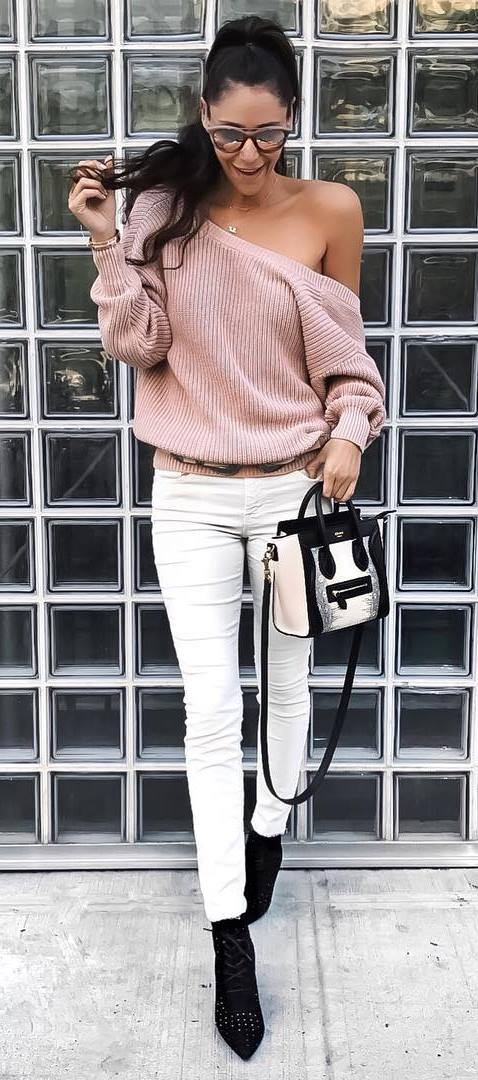 cool outfit: one shoulder knit + skinnies + bag
