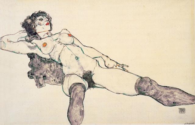 Egon Schiele: Nudo disteso con gambe divaricate