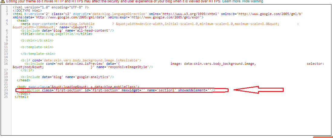 how to create a section tag in blogger 1