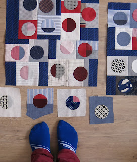 Quilty 365 - Hand applique circles - Dr Who socks