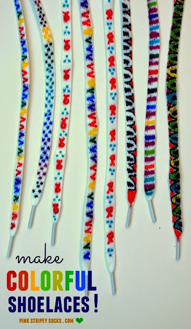DIY Colorful Shoelaces - Great for shnazzing up shoes, or a great gift for kids to make for others
