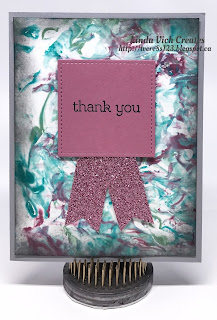 Linda Vich Creates: Shaving Cream Thank You Cards. Simple thank you cards that sport marblelized backgrounds topped with stitched sentiments with glimmer paper banners.