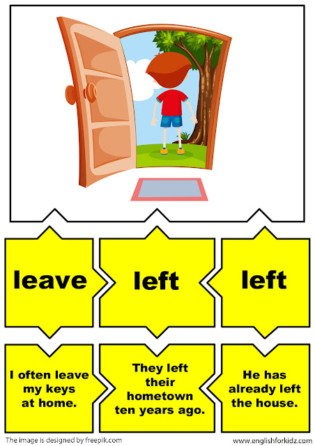 irregular verbs puzzle flashcards, verb leave