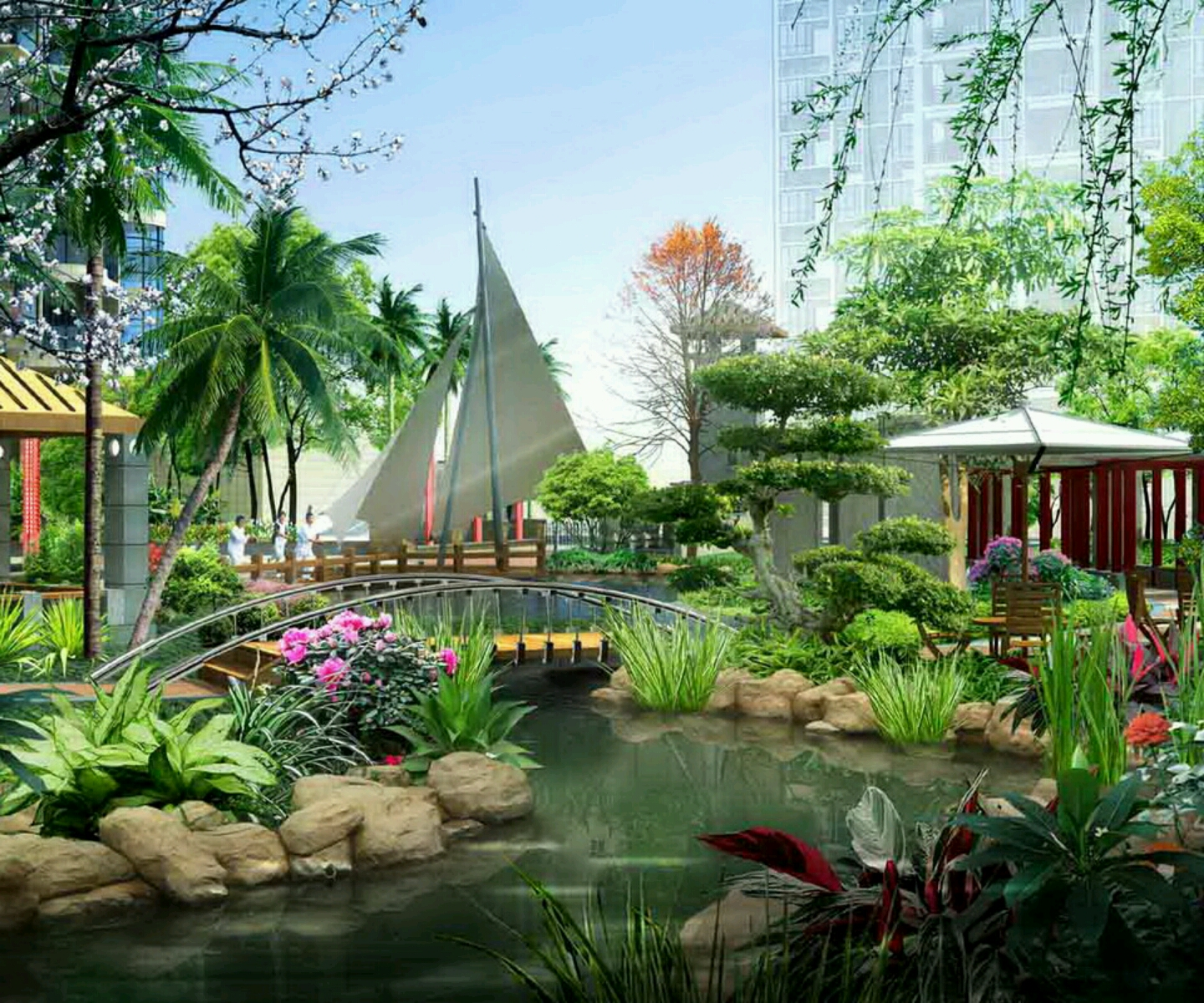 New home designs latest modern homes gardens designs for Holiday home garden design